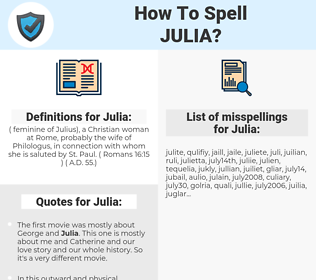 Julia, spellcheck Julia, how to spell Julia, how do you spell Julia, correct spelling for Julia
