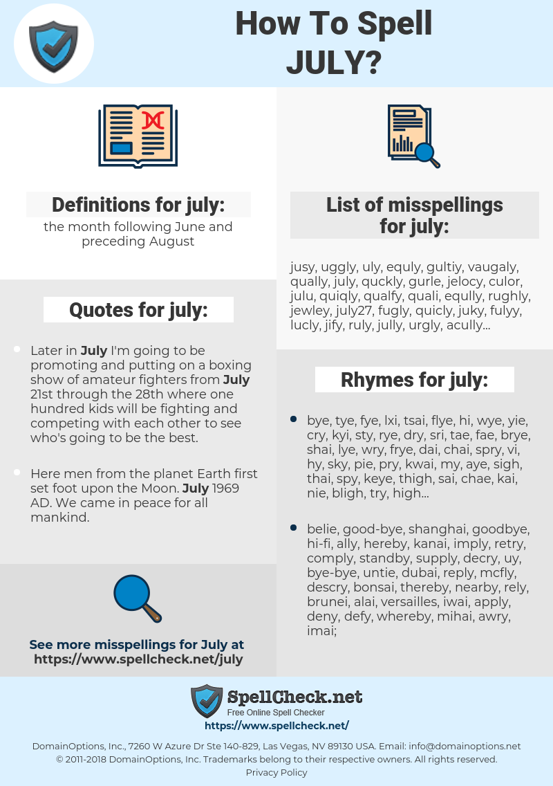 july, spellcheck july, how to spell july, how do you spell july, correct spelling for july