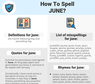 june, spellcheck june, how to spell june, how do you spell june, correct spelling for june