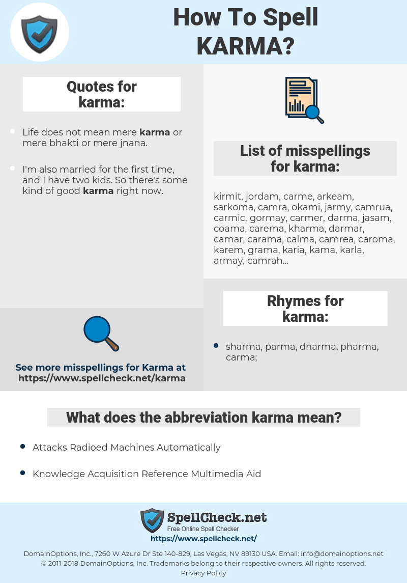 karma, spellcheck karma, how to spell karma, how do you spell karma, correct spelling for karma