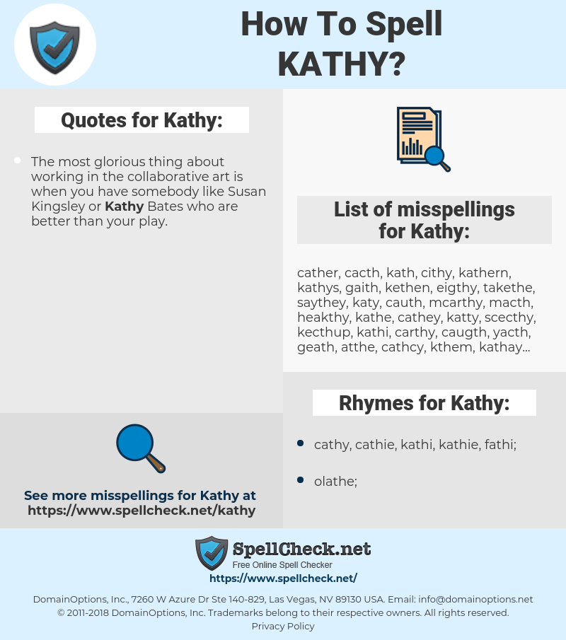 Kathy, spellcheck Kathy, how to spell Kathy, how do you spell Kathy, correct spelling for Kathy