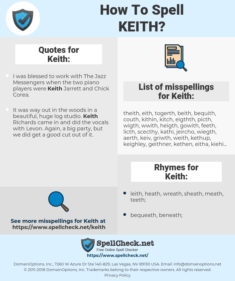 Keith, spellcheck Keith, how to spell Keith, how do you spell Keith, correct spelling for Keith