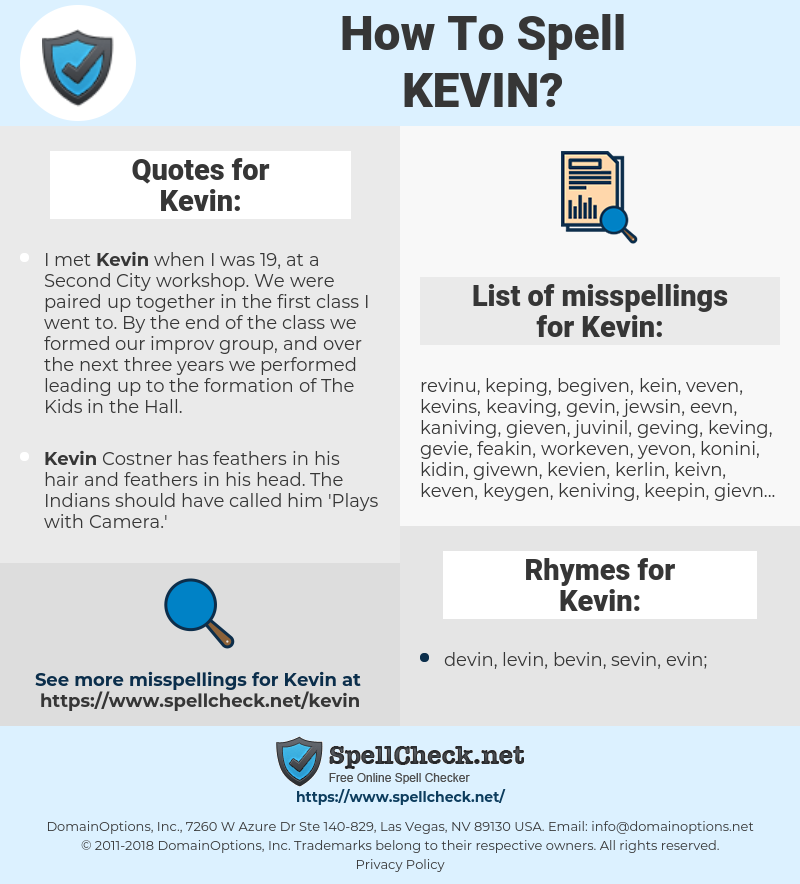 Kevin, spellcheck Kevin, how to spell Kevin, how do you spell Kevin, correct spelling for Kevin