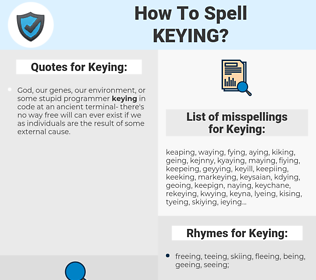 Keying, spellcheck Keying, how to spell Keying, how do you spell Keying, correct spelling for Keying