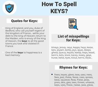 Keys, spellcheck Keys, how to spell Keys, how do you spell Keys, correct spelling for Keys
