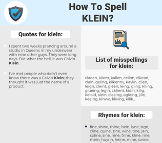 klein, spellcheck klein, how to spell klein, how do you spell klein, correct spelling for klein