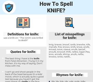 knife, spellcheck knife, how to spell knife, how do you spell knife, correct spelling for knife