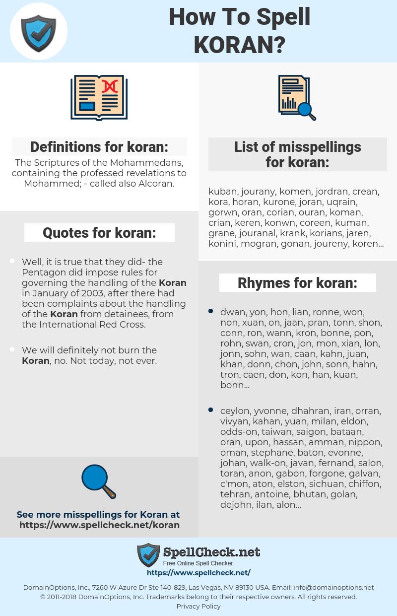 koran, spellcheck koran, how to spell koran, how do you spell koran, correct spelling for koran