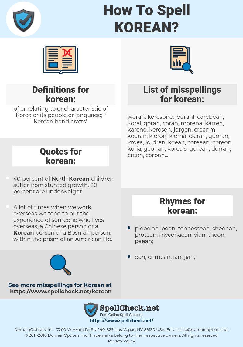 korean, spellcheck korean, how to spell korean, how do you spell korean, correct spelling for korean