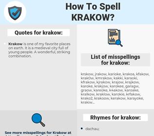 krakow, spellcheck krakow, how to spell krakow, how do you spell krakow, correct spelling for krakow