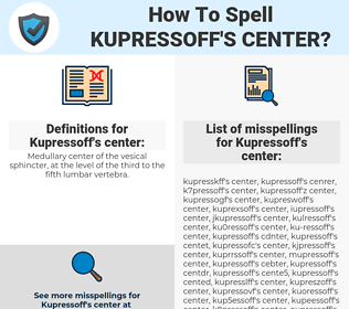Kupressoff's center, spellcheck Kupressoff's center, how to spell Kupressoff's center, how do you spell Kupressoff's center, correct spelling for Kupressoff's center