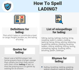 lading, spellcheck lading, how to spell lading, how do you spell lading, correct spelling for lading