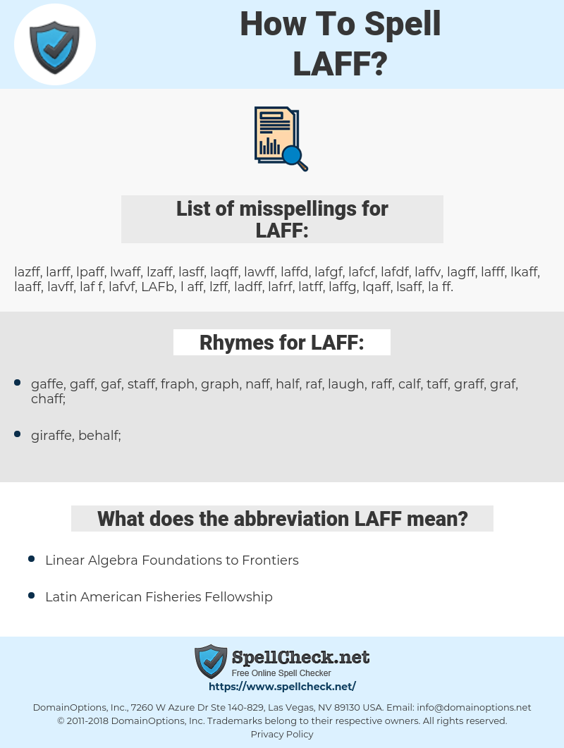 LAFF, spellcheck LAFF, how to spell LAFF, how do you spell LAFF, correct spelling for LAFF
