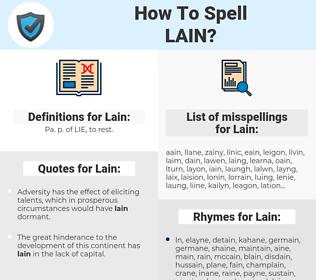 Lain, spellcheck Lain, how to spell Lain, how do you spell Lain, correct spelling for Lain