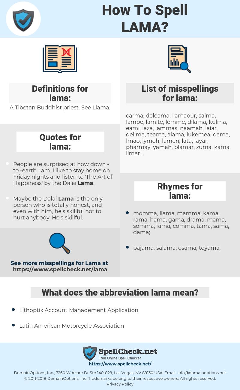 lama, spellcheck lama, how to spell lama, how do you spell lama, correct spelling for lama