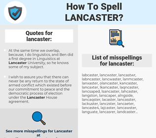 lancaster, spellcheck lancaster, how to spell lancaster, how do you spell lancaster, correct spelling for lancaster