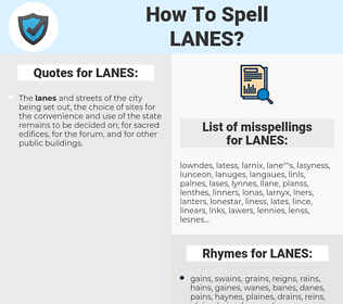 LANES, spellcheck LANES, how to spell LANES, how do you spell LANES, correct spelling for LANES
