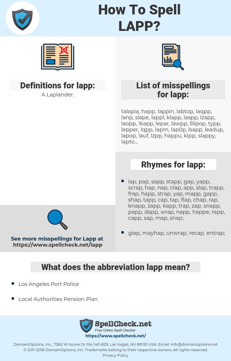 lapp, spellcheck lapp, how to spell lapp, how do you spell lapp, correct spelling for lapp