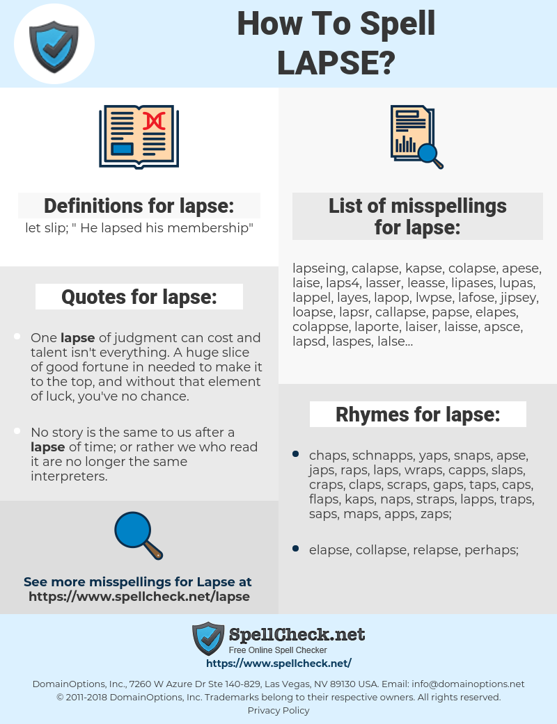 lapse, spellcheck lapse, how to spell lapse, how do you spell lapse, correct spelling for lapse