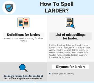 larder, spellcheck larder, how to spell larder, how do you spell larder, correct spelling for larder