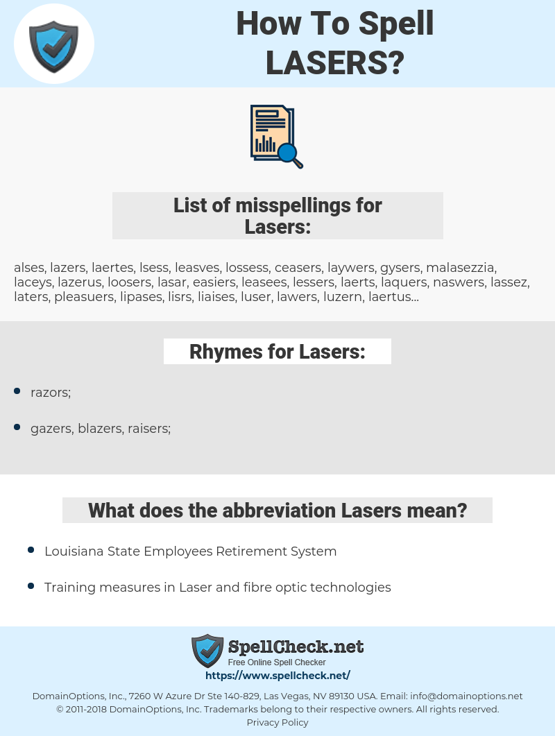 Lasers, spellcheck Lasers, how to spell Lasers, how do you spell Lasers, correct spelling for Lasers