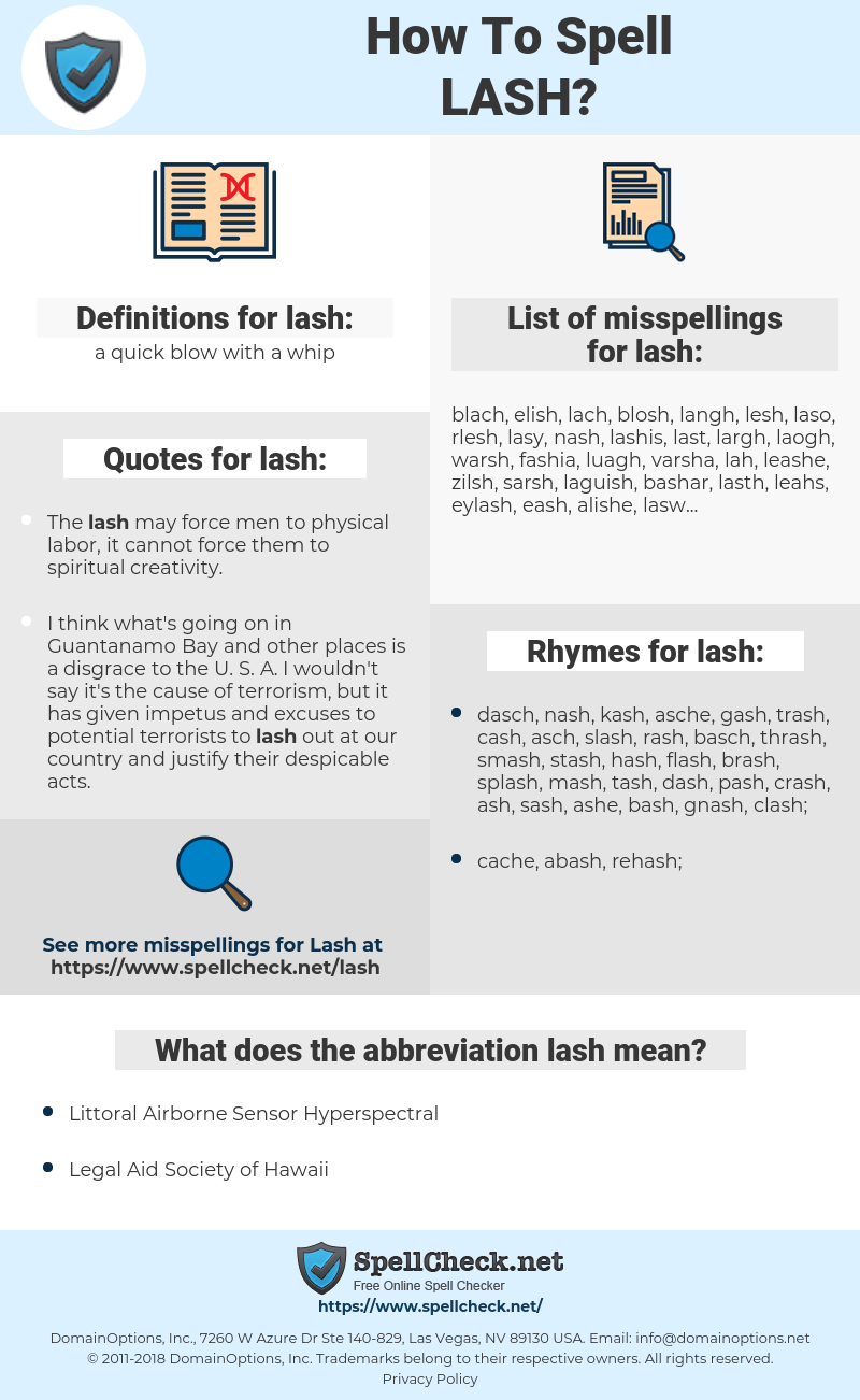lash, spellcheck lash, how to spell lash, how do you spell lash, correct spelling for lash