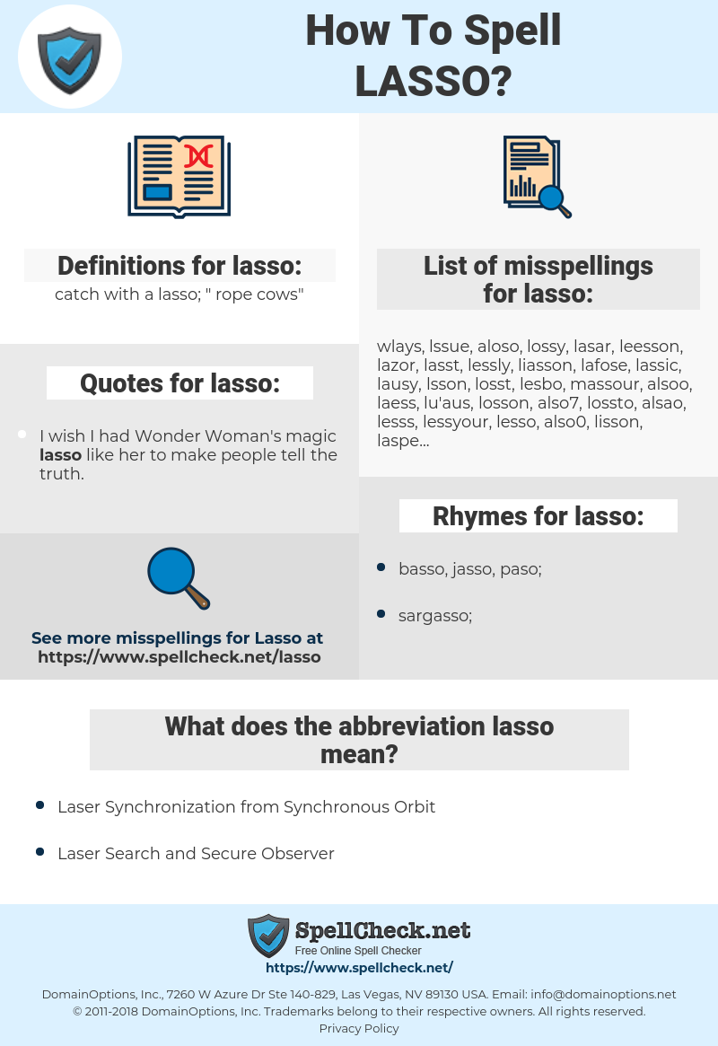 lasso, spellcheck lasso, how to spell lasso, how do you spell lasso, correct spelling for lasso