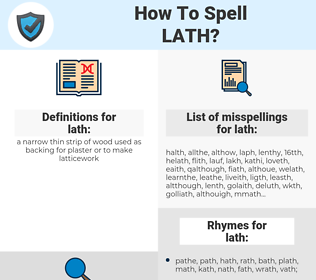 lath, spellcheck lath, how to spell lath, how do you spell lath, correct spelling for lath