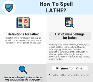 lathe, spellcheck lathe, how to spell lathe, how do you spell lathe, correct spelling for lathe
