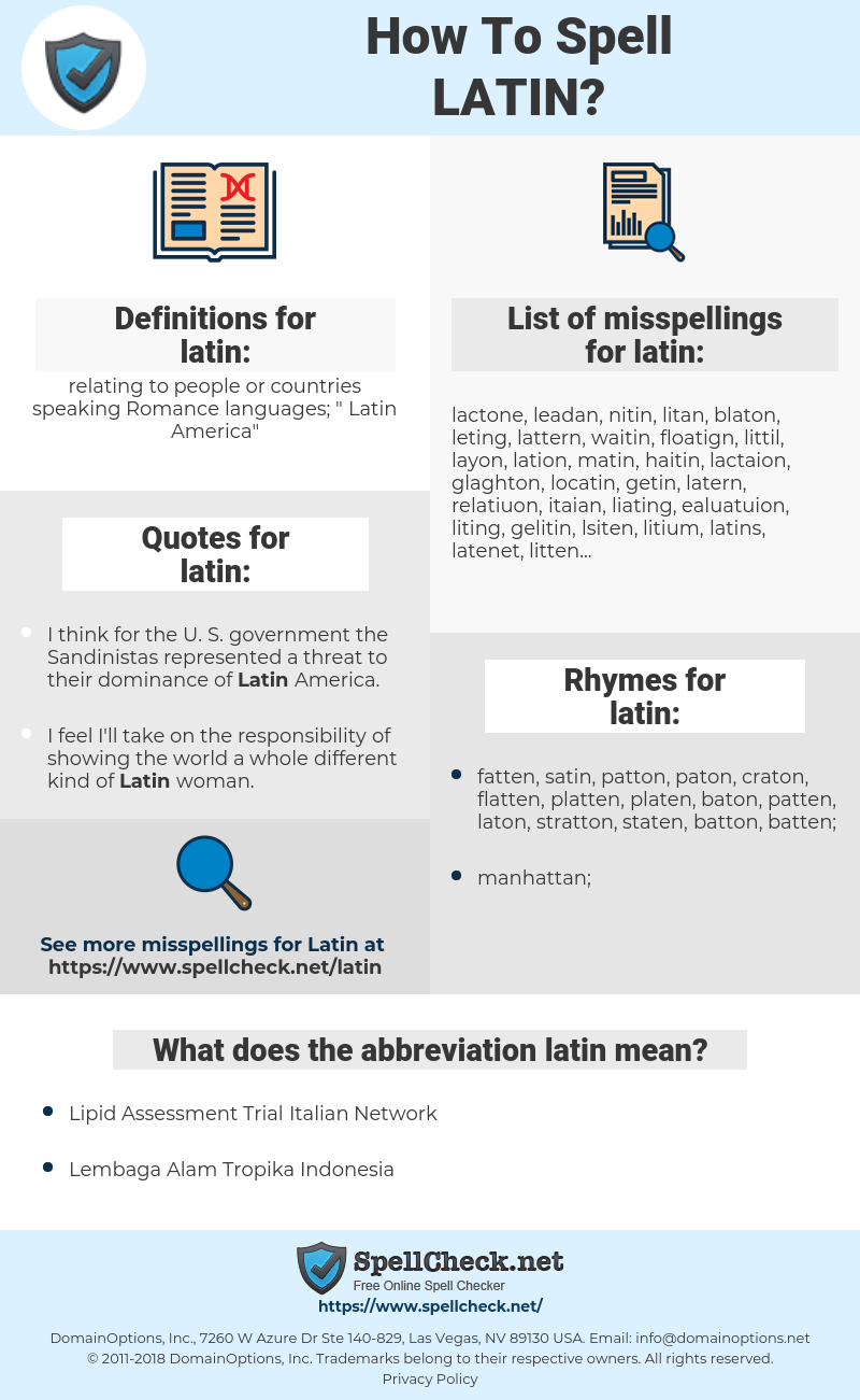 latin, spellcheck latin, how to spell latin, how do you spell latin, correct spelling for latin