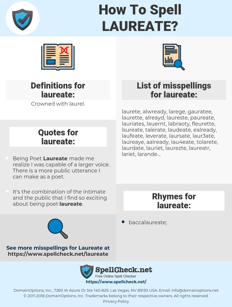 laureate, spellcheck laureate, how to spell laureate, how do you spell laureate, correct spelling for laureate