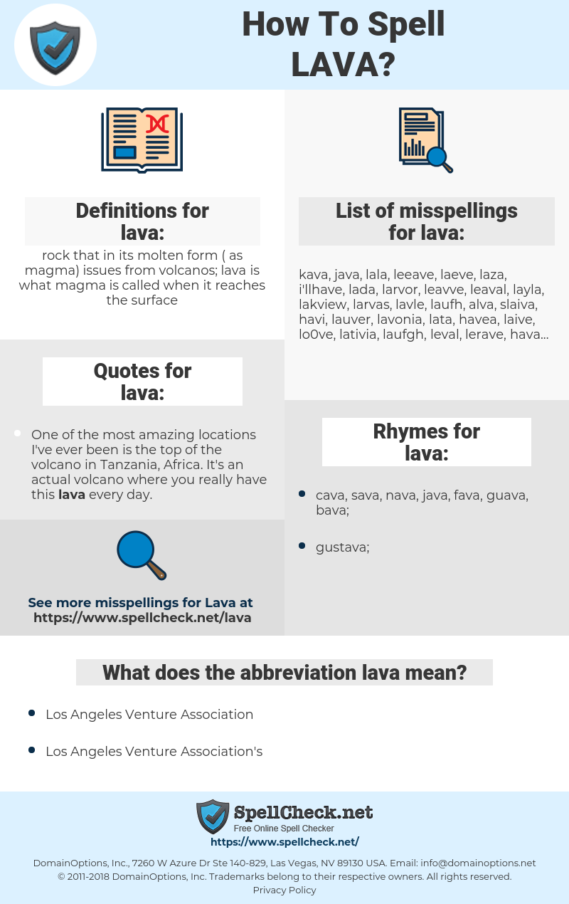 lava, spellcheck lava, how to spell lava, how do you spell lava, correct spelling for lava