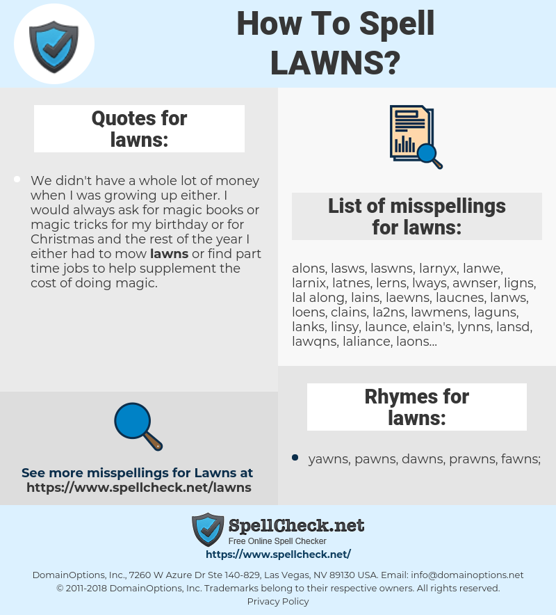 lawns, spellcheck lawns, how to spell lawns, how do you spell lawns, correct spelling for lawns