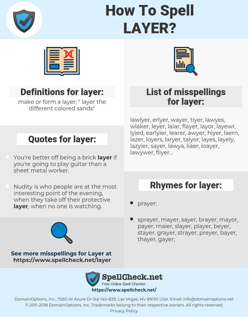 layer, spellcheck layer, how to spell layer, how do you spell layer, correct spelling for layer