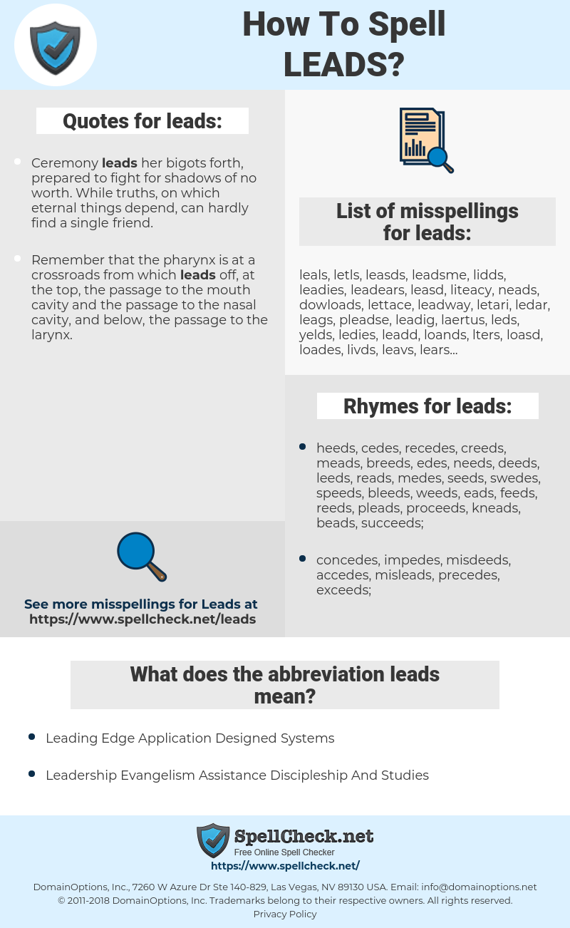 leads, spellcheck leads, how to spell leads, how do you spell leads, correct spelling for leads