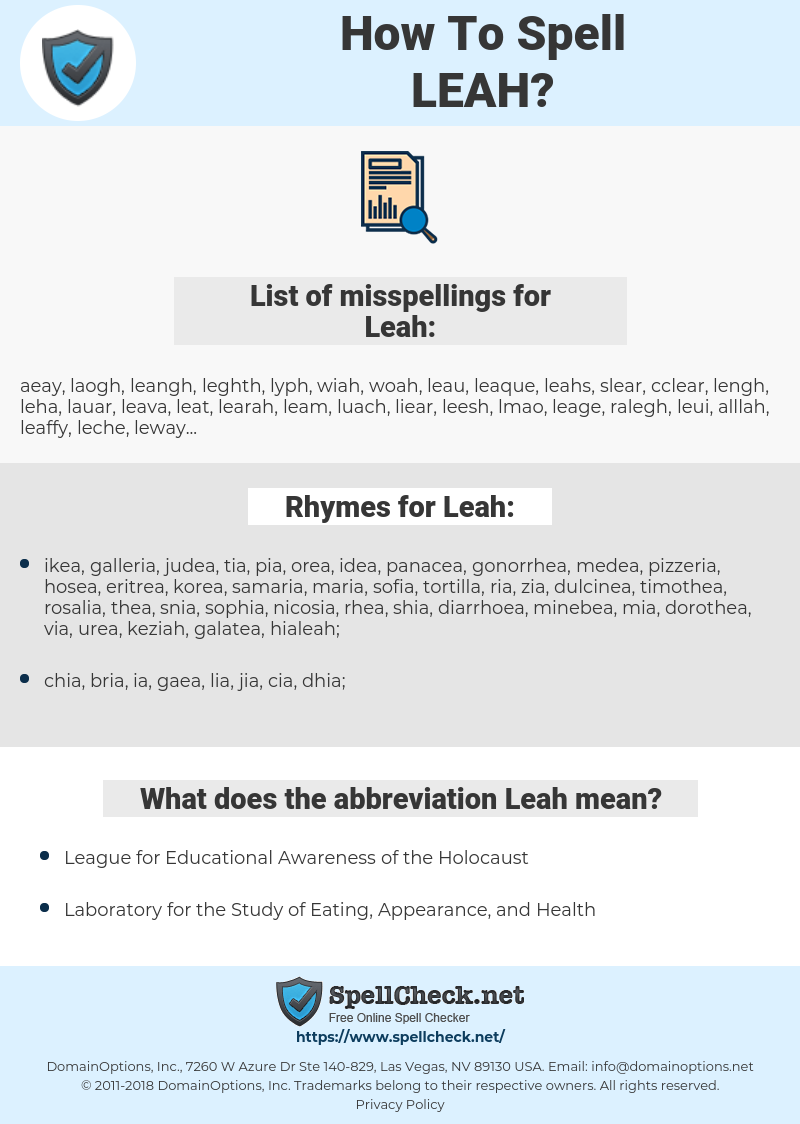 Leah, spellcheck Leah, how to spell Leah, how do you spell Leah, correct spelling for Leah