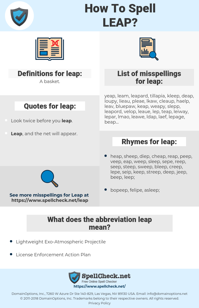 leap, spellcheck leap, how to spell leap, how do you spell leap, correct spelling for leap