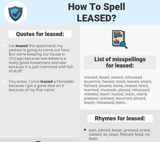 leased, spellcheck leased, how to spell leased, how do you spell leased, correct spelling for leased
