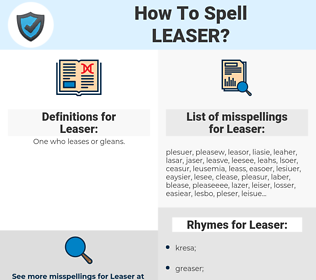 Leaser, spellcheck Leaser, how to spell Leaser, how do you spell Leaser, correct spelling for Leaser