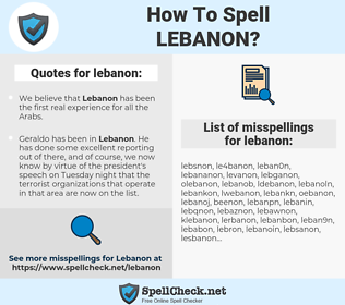 lebanon, spellcheck lebanon, how to spell lebanon, how do you spell lebanon, correct spelling for lebanon