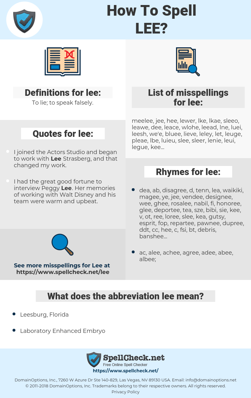 lee, spellcheck lee, how to spell lee, how do you spell lee, correct spelling for lee