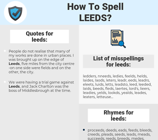leeds, spellcheck leeds, how to spell leeds, how do you spell leeds, correct spelling for leeds