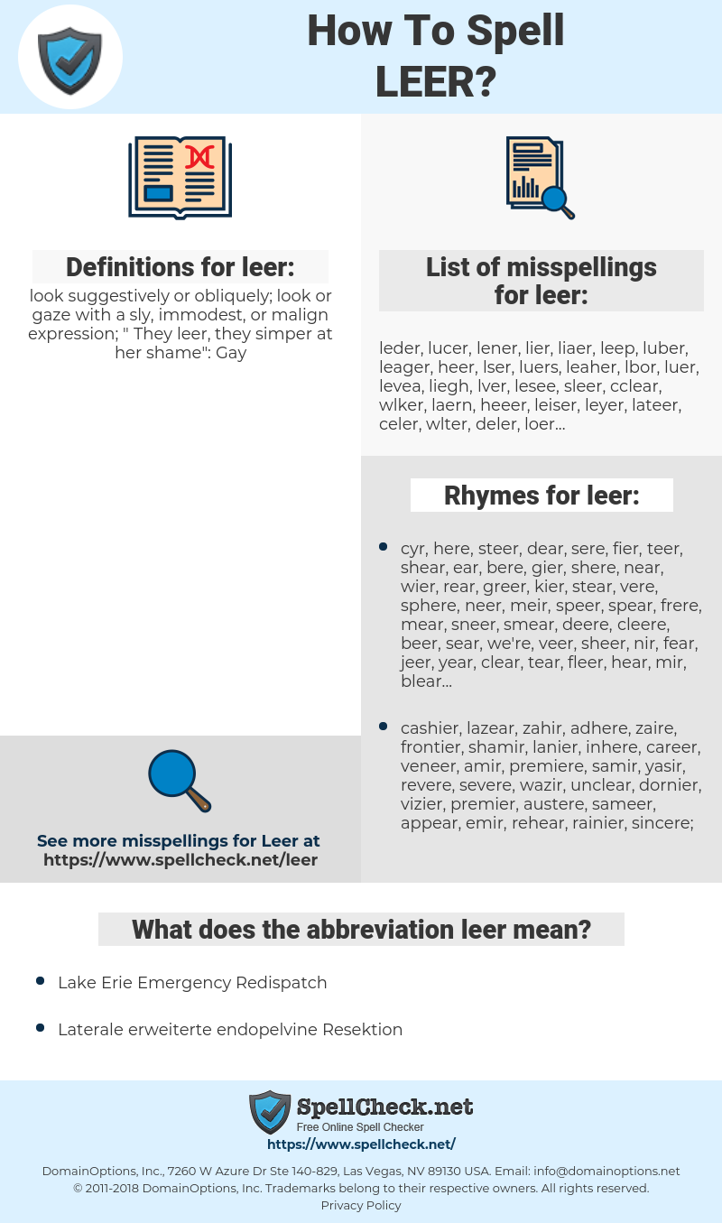 leer, spellcheck leer, how to spell leer, how do you spell leer, correct spelling for leer