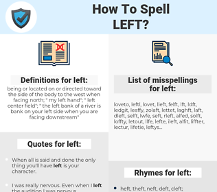 left, spellcheck left, how to spell left, how do you spell left, correct spelling for left