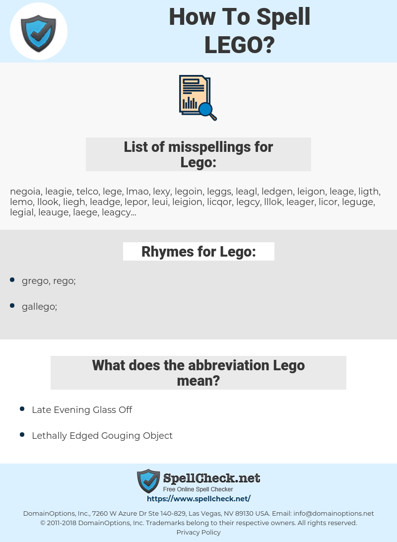 Lego, spellcheck Lego, how to spell Lego, how do you spell Lego, correct spelling for Lego