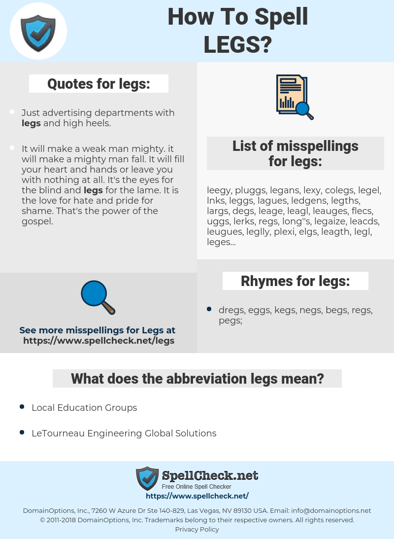 legs, spellcheck legs, how to spell legs, how do you spell legs, correct spelling for legs