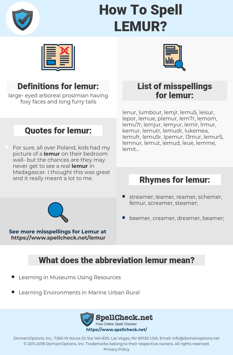lemur, spellcheck lemur, how to spell lemur, how do you spell lemur, correct spelling for lemur