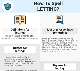 letting, spellcheck letting, how to spell letting, how do you spell letting, correct spelling for letting