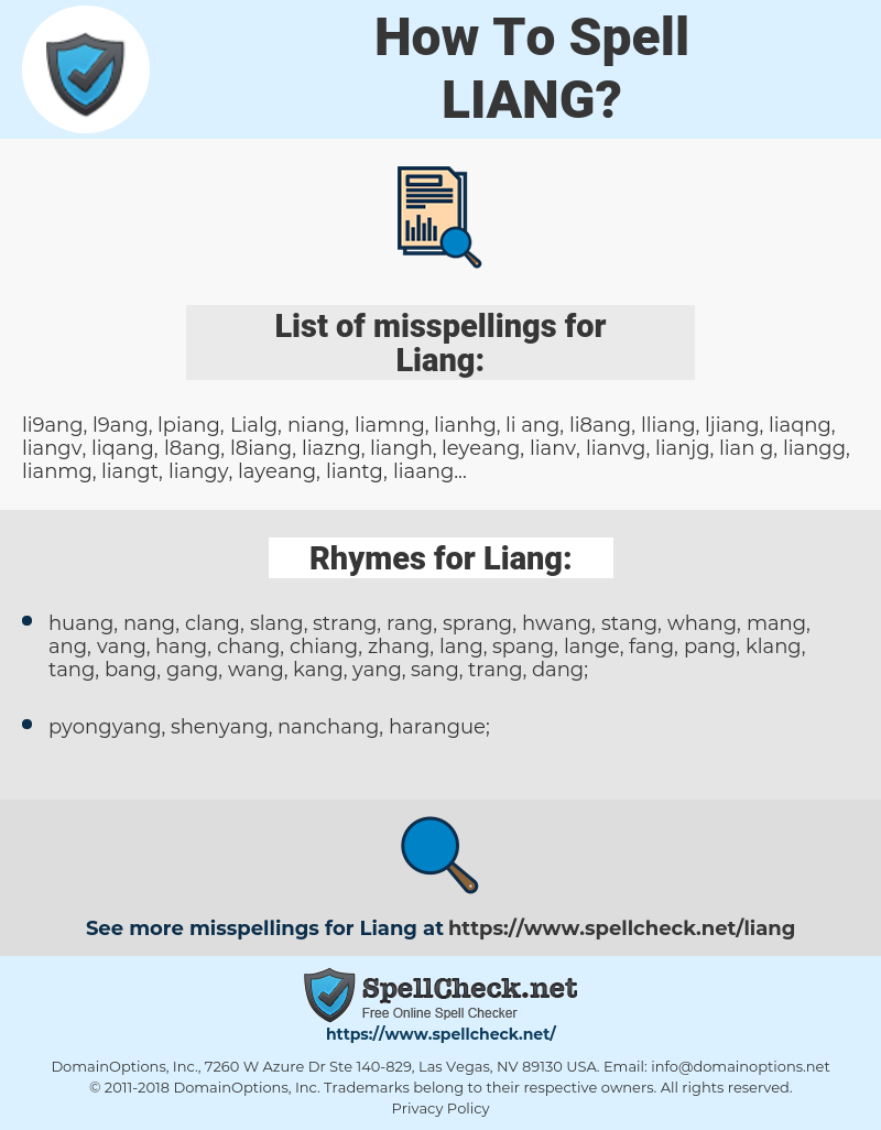 Liang, spellcheck Liang, how to spell Liang, how do you spell Liang, correct spelling for Liang