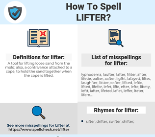 lifter, spellcheck lifter, how to spell lifter, how do you spell lifter, correct spelling for lifter